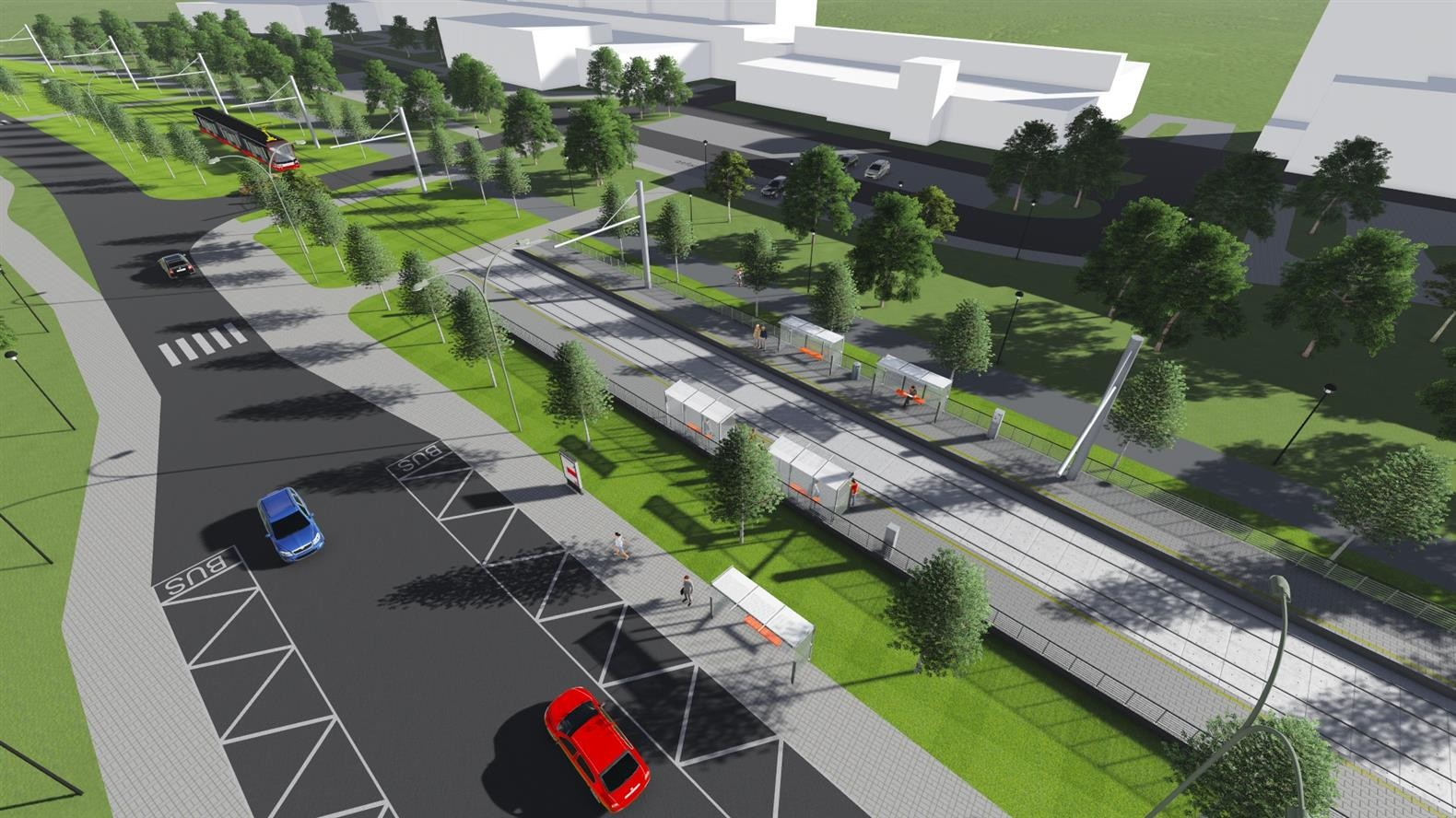a29fb00e0 ... ružové = odstavná hala pre 12 električiek, žlté = nové cesty, modré =  cyklotrasy, svetlomodré = výhľadové komunikácie Južného mesta a výhľadová  vozovňa ...