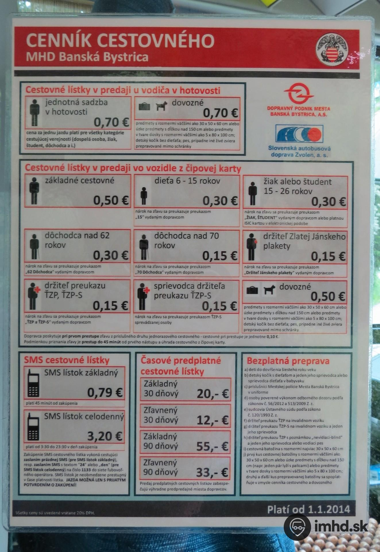 Informacie O Cenniku V Mhd Imhd Sk Banska Bystrica
