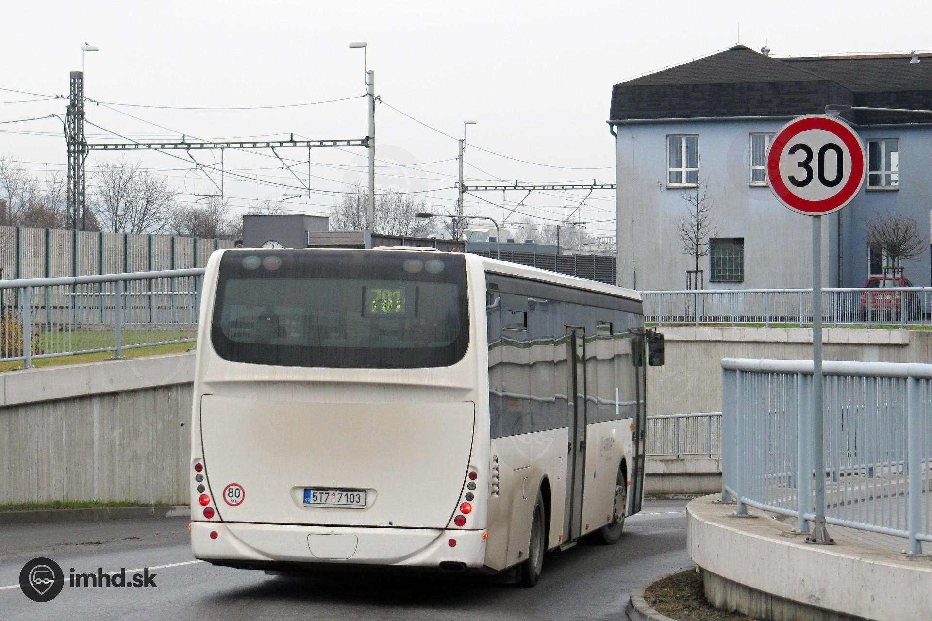 5T7 7103, route 701, Lyžbice • imhd sk Slovakia and the world