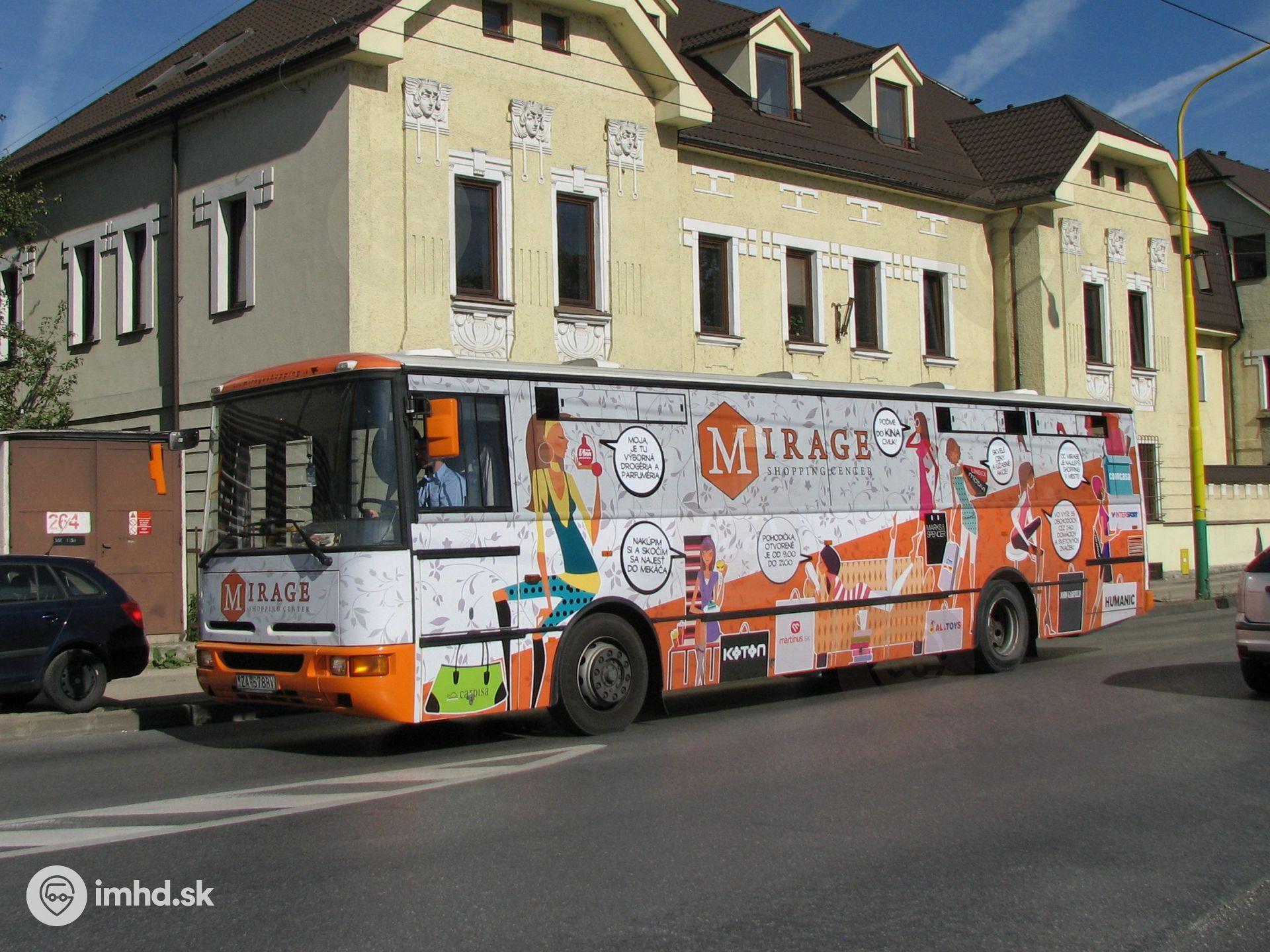 ZA-578BV, route MirageBus, Ul  P  O  Hviezdoslava • imhd sk